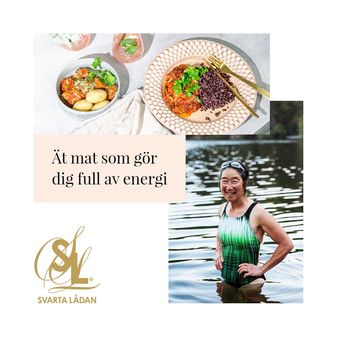 Bild på hälsosam mat och stark kvinna